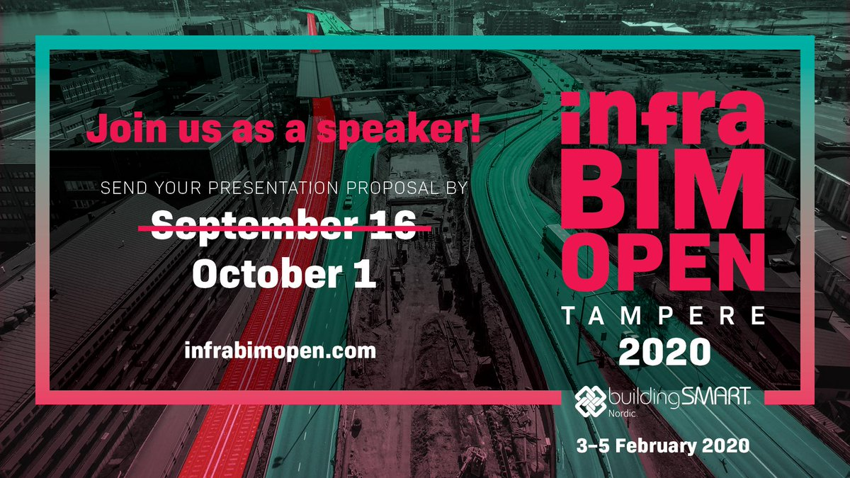 @InfraBIMOpen: What a great news to start new week: You still got eight days to send us your presentation proposal!  Let us hear from you and your experiences about #openBIM in #infra construction by October 1!  https://t.co/qFWDkeoEob  #infrabimopen #infrastructure #BIM https://t.co/MNCltevR25