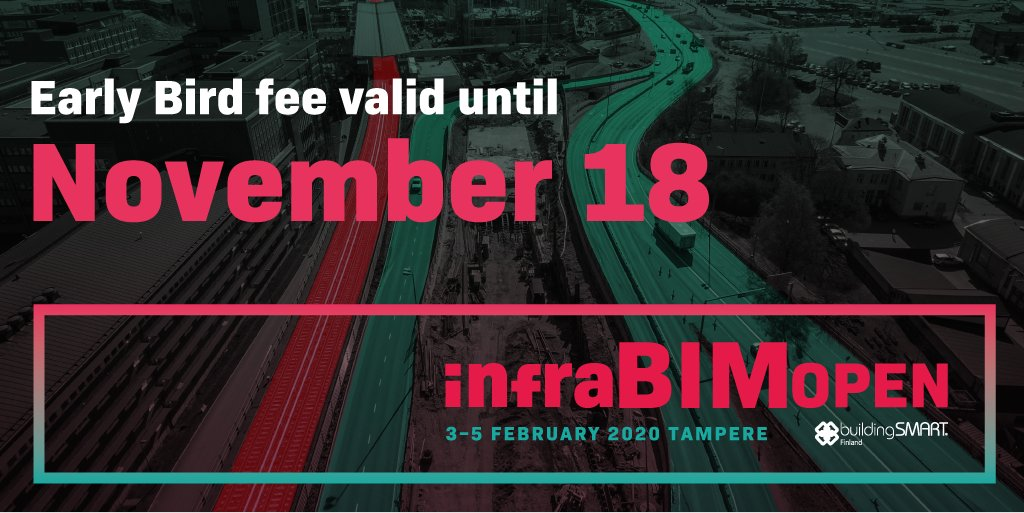 @InfraBIMOpen: Are you an early #BIM bird?  Attend for 2 days for 350 € (+VAT 24 %)! Prices are valid until Nov 18!  If you choose one event to attend in 2020, choose this one and you come back with many new innovations.  Register: https://t.co/qFWDkeoEob #infrabimopen #openBIM #infrastructure https://t.co/dGFufhHi8q
