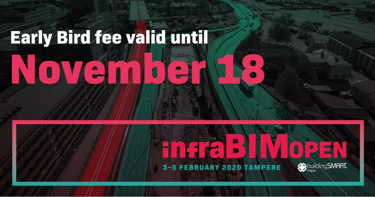 @InfraBIMOpen: Oh, it's Monday again...  But not like any other Monday! Today is the last day to use the Early Bird offer for InfraBIM Open 2020! Take your chance!  Register now! https://t.co/qFWDkeoEob  #infrabimopen #openbim #InfraBIM #BIM #infrastructure #infra #opendata #earlybird https://t.co/ImE1Dcr0FF