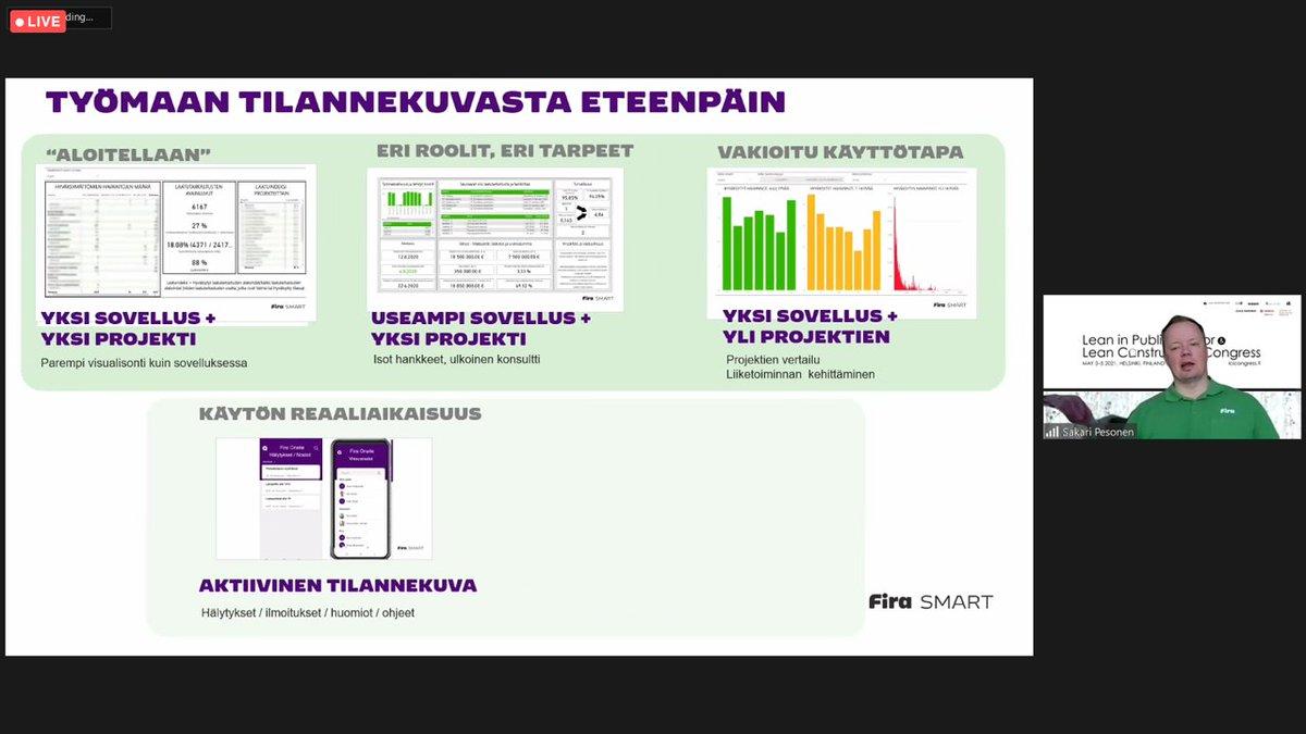 Muun muassa @firasmart_c @sakkepesonen puhui hetki sitten #LeanConstructionCongress issa Tilannekuvasta eteenpäin -sessiossa til...